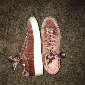 Steve Madden velvet rose gold sneakers